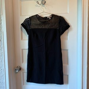 Black Mini Dress with Gold and Mesh Detail